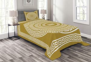 Ambesonne Greek Key Bedspread, Frieze with Vintage Ornament Meander Pattern from Greece Retro Twist Lines, Decorative Quilted 2 Piece Coverlet Set with Pillow Sham, Twin Size, Amber White
