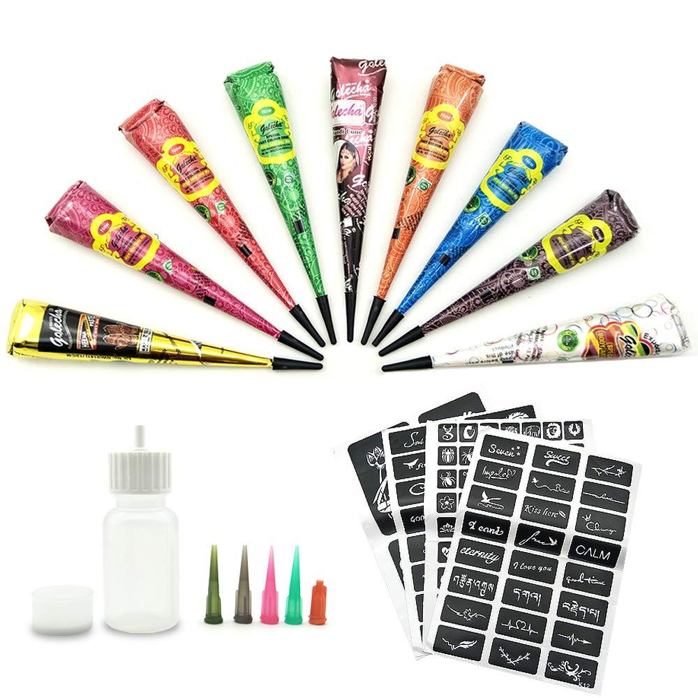 Henna Tattoo-Henna Tattoos Kits-9 Color Temporary Henna Tattoos Paste Cone with 107 Pcs Henna Template Set,1 x Applicator Bottle and 5 x Plastic Nozzle
