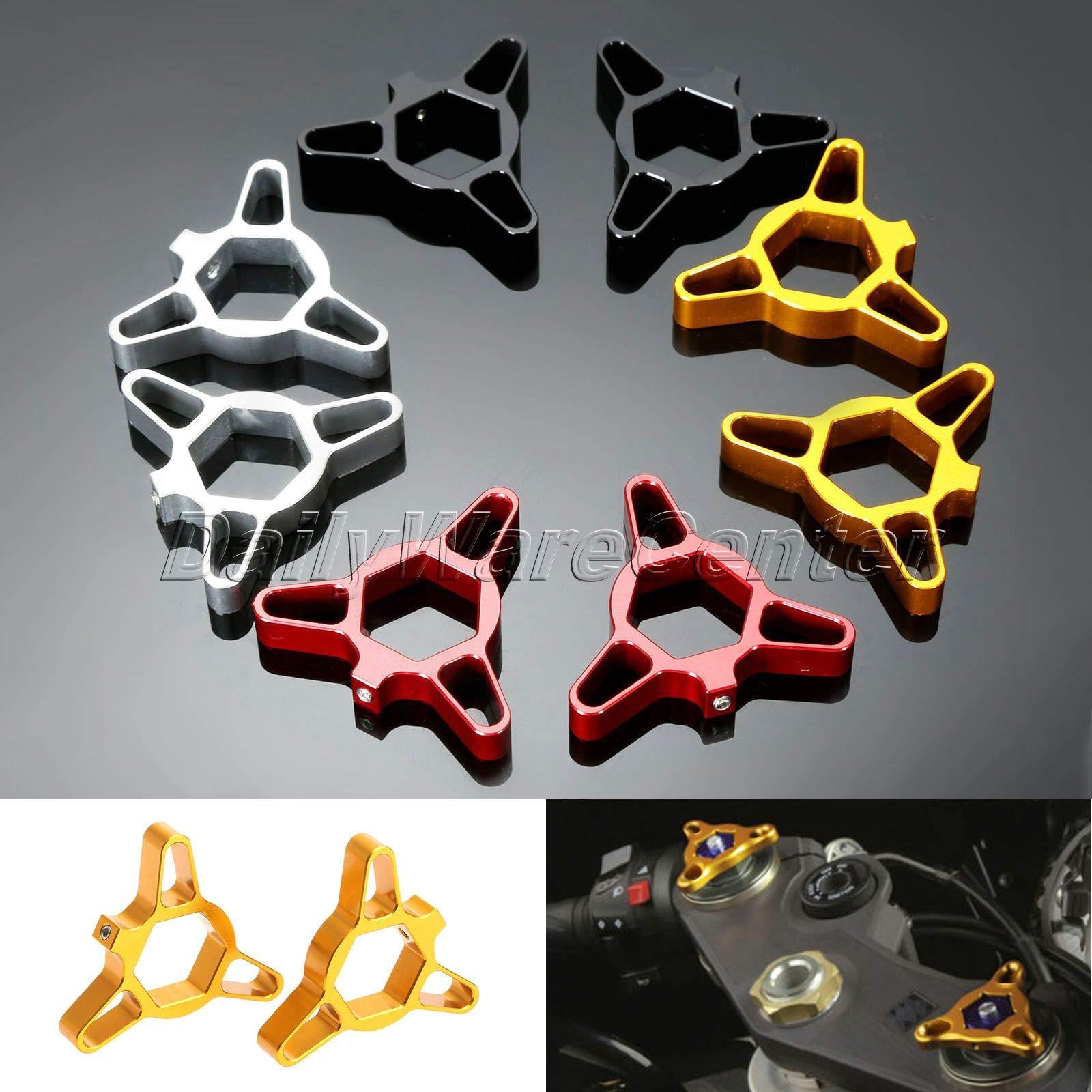Daphot-Store - 2x Universal 17mm CNC Aluminum Motorcycle Fork Preload Adjuster For BMW Honda CBR125 Ducati YAMAHA YZF R6 Suzuki TL1000S TL1000R