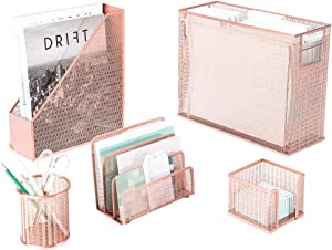 Blu Monaco 5 Piece Cute Office Supplies Rose Gold Desk Organizer Set - with Desktop Hanging File Organizer, Magazine Holder, Pen Cup, Sticky Note Holder, Letter sorter - Rose Gold Desk Accessories