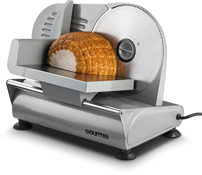 """Gourmia GFS700 Professional Electric Power Food & Meat Slicer with Removable 7.5"""" Stainless steel Blade - Adjustable Knob for Thickness - Anti Slip Rubber Feet - 110/120V"""
