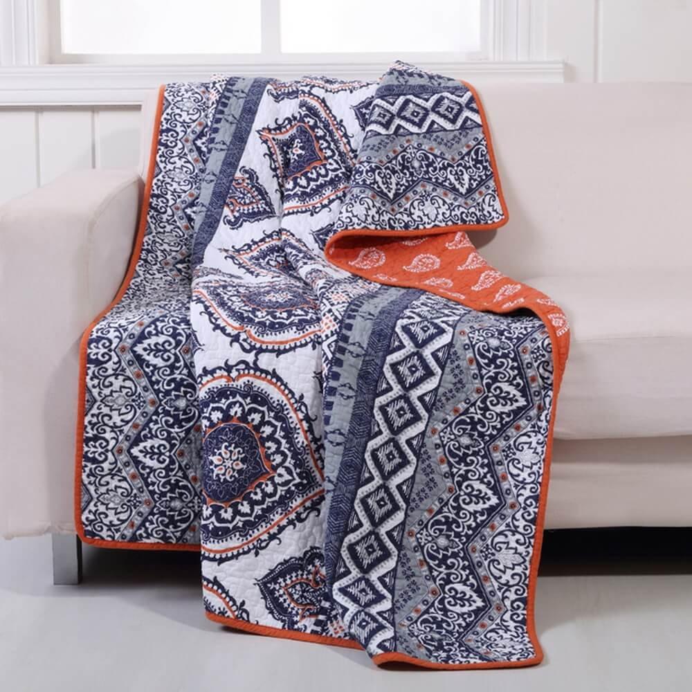 Amazon.com: Boho Chic Moroccan Paisley Pattern Grey Orange Cotton ...