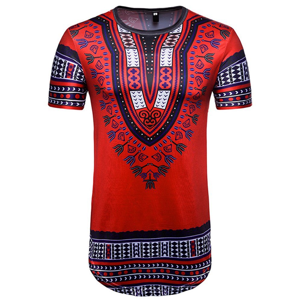 Mens Short Sleeve Cotton Bright Traditional African Clothing Dashiki T Shirts Red L