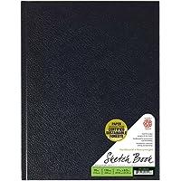 Pentalic Bamboo Hardbound 110-Sheet Sketchbook, Black, 8-1/2-inch x 11-inch, 220 Pages Hard Bound Sketchbook, Black