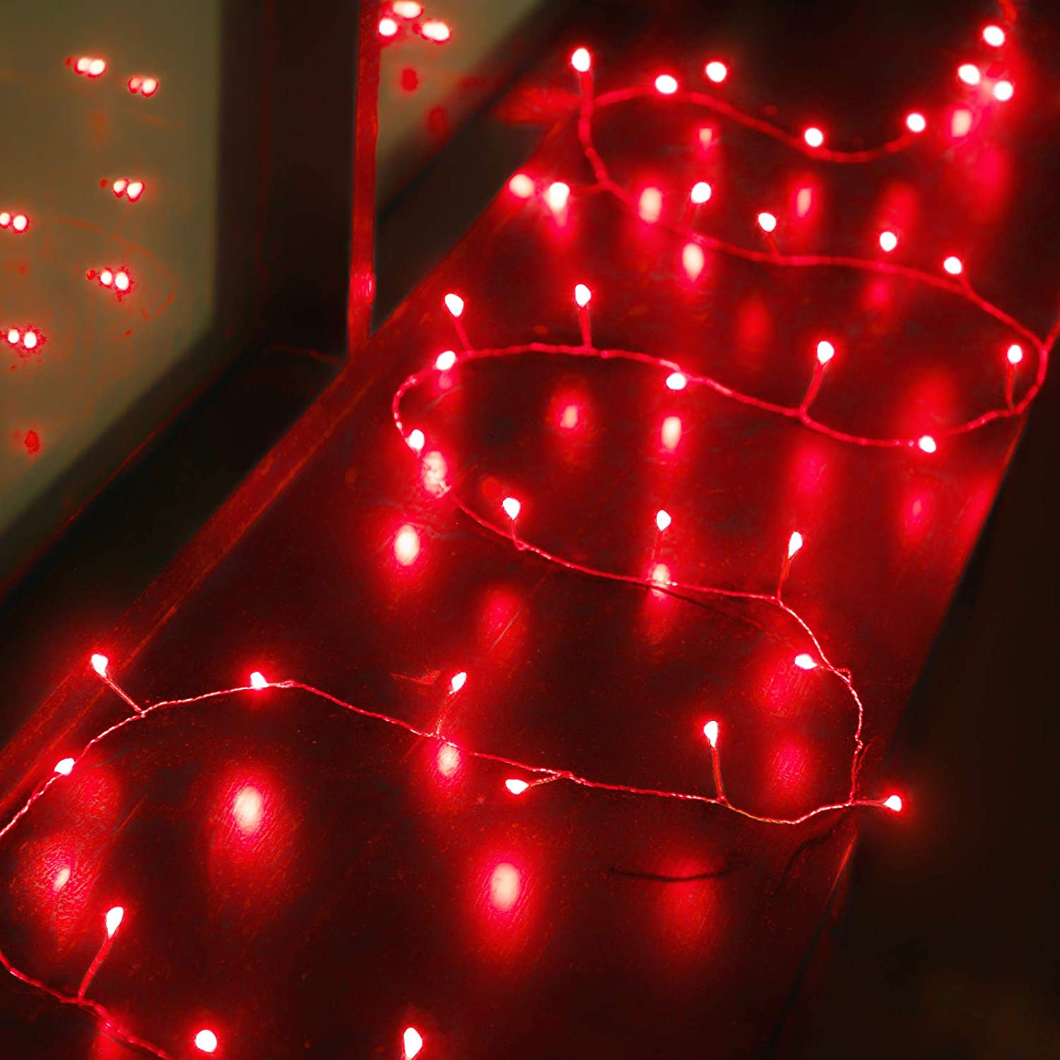 Valentines Fairy String Lights 6.5ft 40 Red LED Firecracker Lights Battery Operated for Valentines Day Wedding Indoor Outdoor Bedroom Garden Party Decoration