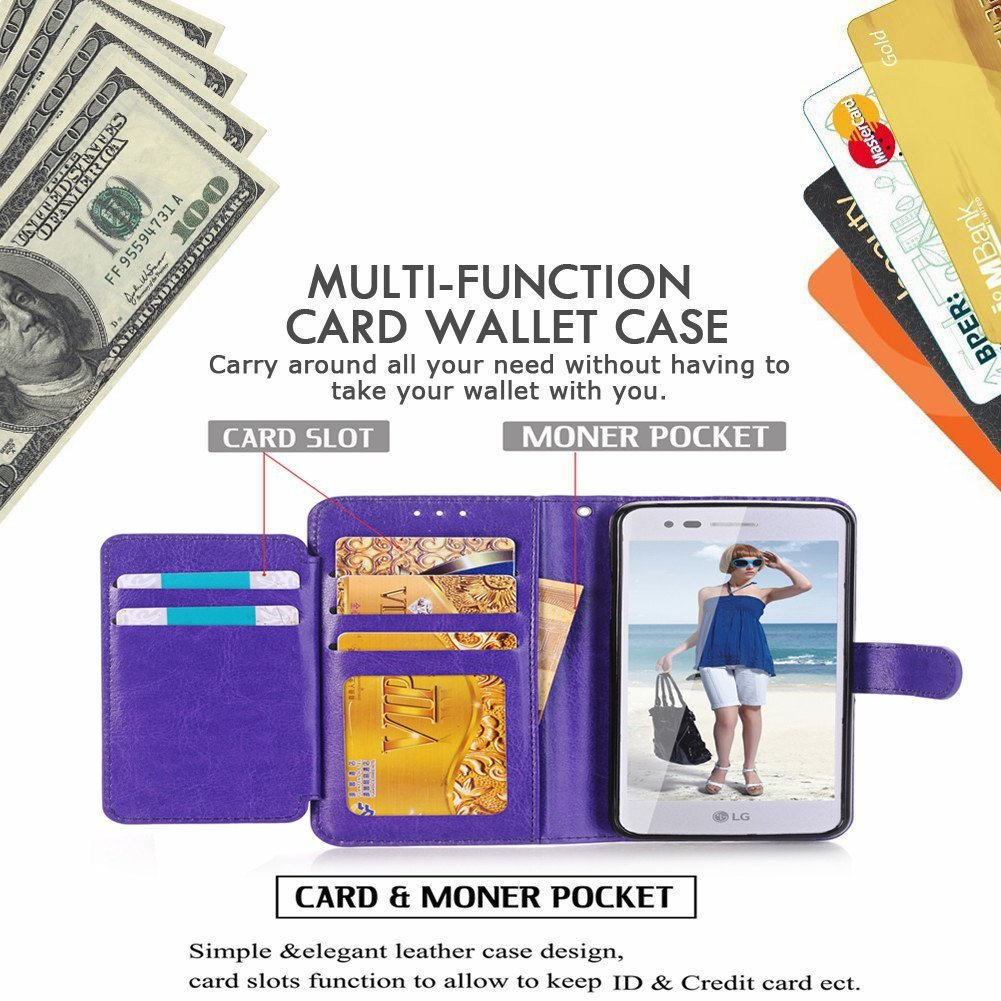 LG Stylus 4 Case, LG Q Stylus Case, LG Stylo 4 Case With Screen Protector, I VIKKLY [Kickstand] Magnetic Snap Premium PU Leather Wallet with Card Slot Folio Flip Case for Stylo 4 (2018) (Purple) by I VIKKLY (Image #4)