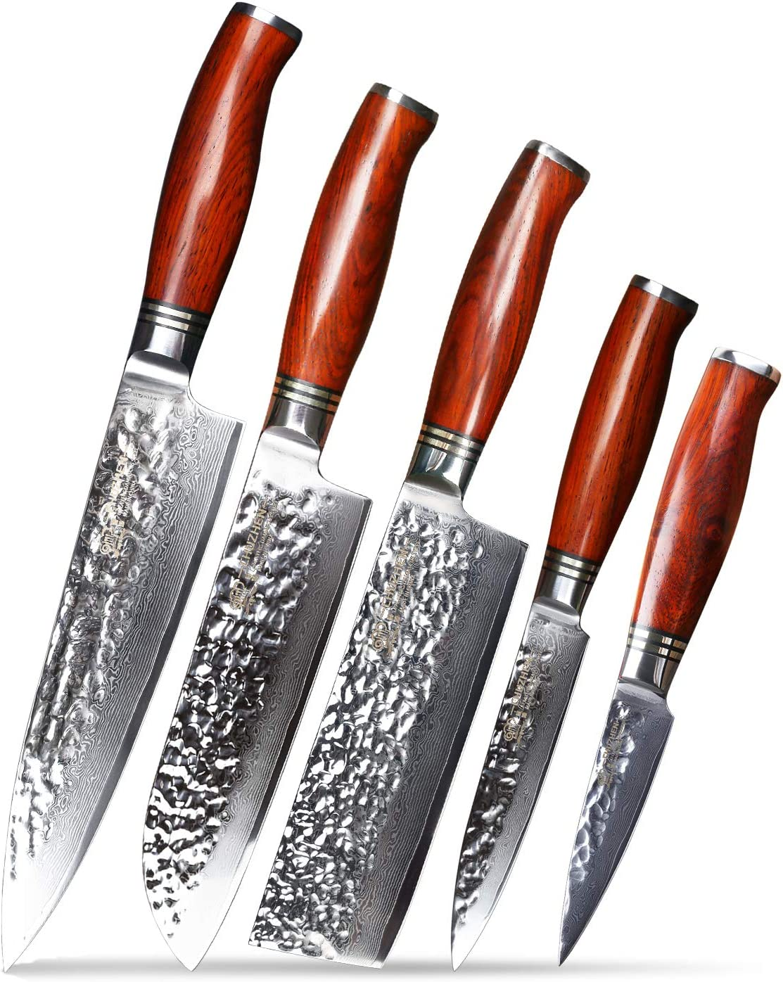 Amazon Com Best Chef Knives Set Knife Kitchen 5 Pieces Chuzhen Yr01 Catena Dalbergia Wood Japan Damascus Steel Vg 10 Core Blade Santoku Utility Knife Paring Nakiri Knives Set Kitchen Dining