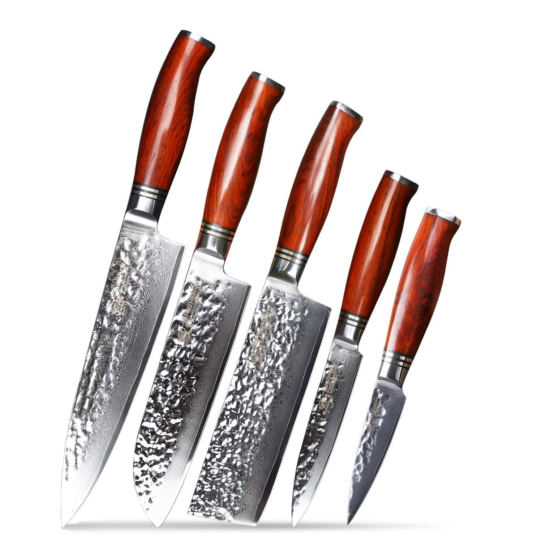 Best Chef knives set knife kitchen 5 pieces - CHUZHEN YR01 catena Dalbergia wood - Japan Damascus Steel VG 10 Core Blade - Santoku utility knife paring nakiri knives set by CHUZHEN