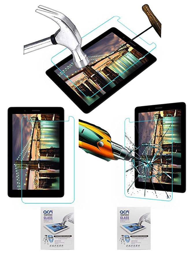 Acm Pack of 2 Tempered Glass Screenguard Compatible with Micromax Canvas Tab P70221 Tablet Screen Guard Scratch Protector Touch Screen Tablet Screen P