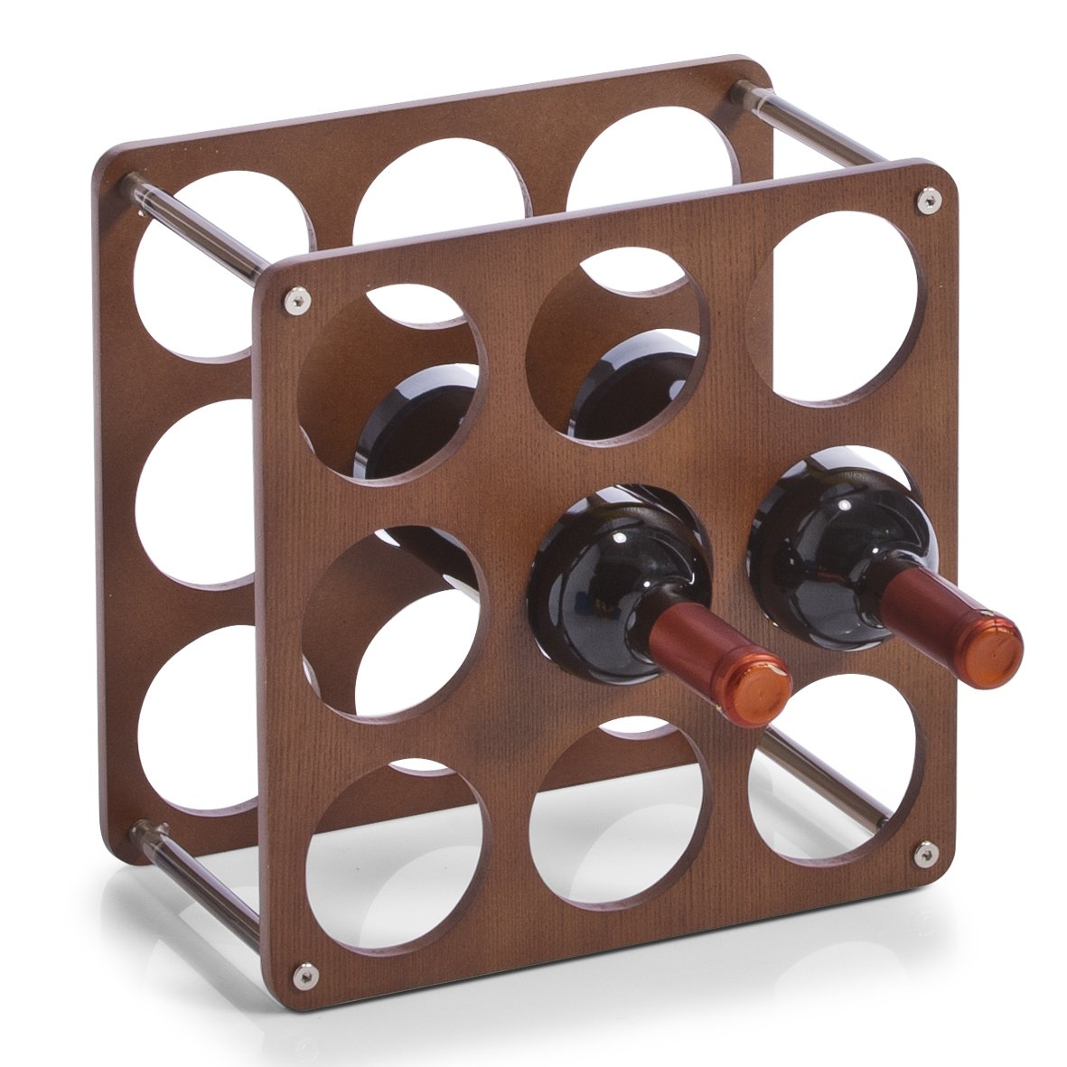 Zeller 13167 Wine Rack for 9 Bottles 0.7 Litres Includes 4 Plastic Connecting Parts 30 x 30 x 17 cm   B00CFICFOY