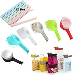 Seal Pour Food Storage Bag Clip, 12 Pcs Food Storage Sealing Clips with Pour Spouts, Kitchen Chip Bag Clips, Plastic Cap Sealer Clips, Great for Kitchen Food Storage and Organization