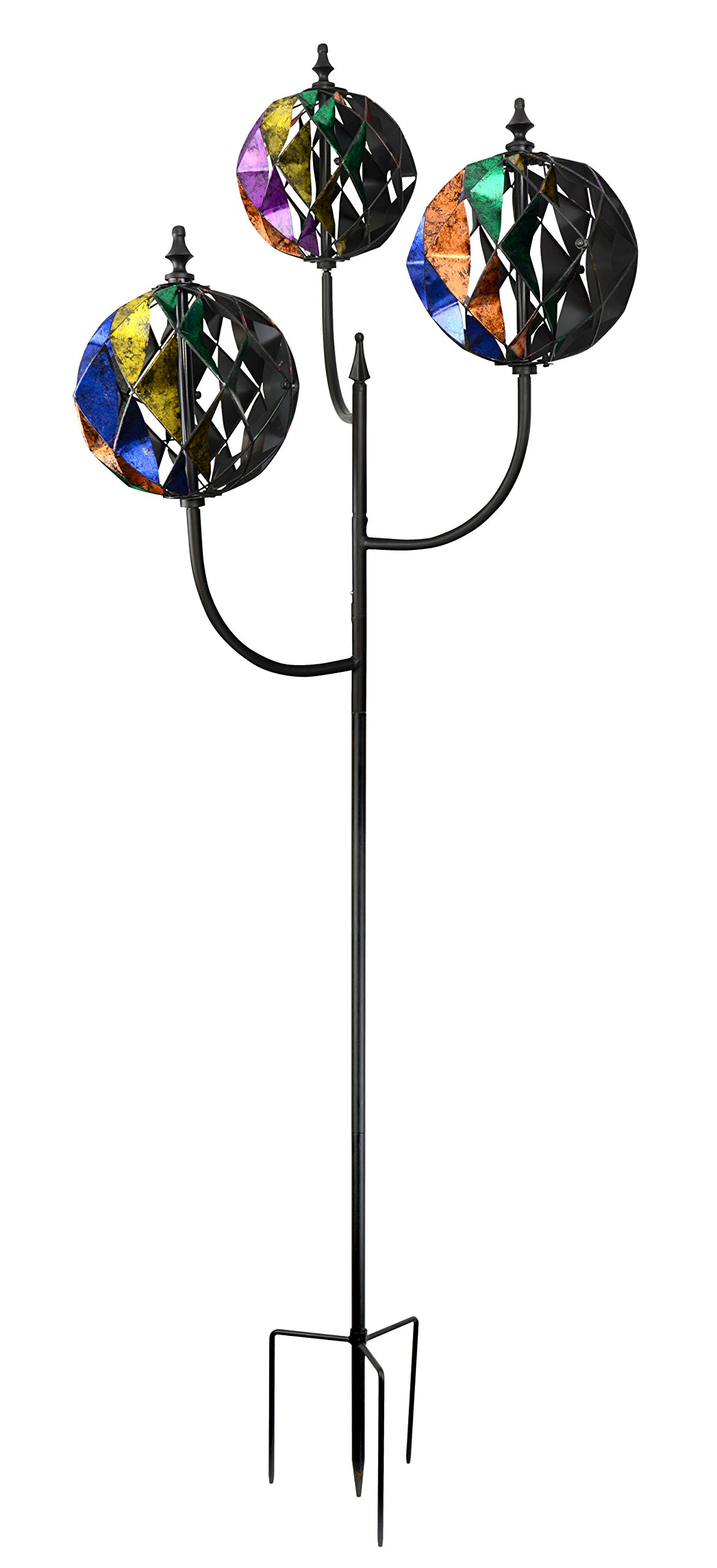Red Carpet Studios Metal Yard Stake Triple Ball Wind Spinner