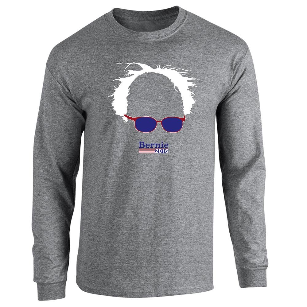 Pop Threads Bernie Sanders 2016 Hair and Glasses Campaign Graphite Heather 2XL Long Sleeve T-Shirt