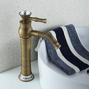 Hiendure Mitigeur de lavabo bec haut robinet évier salle de