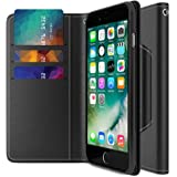 iPhone 7 Plus Case, Maxboost [Folio Style] Premium iPhone Wallet Cases STAND Feature for iPhone 7 Plus Pro 2016 [Black] Protective PU Leather Flip Cover with Card Slot+Side Pocket Magnetic