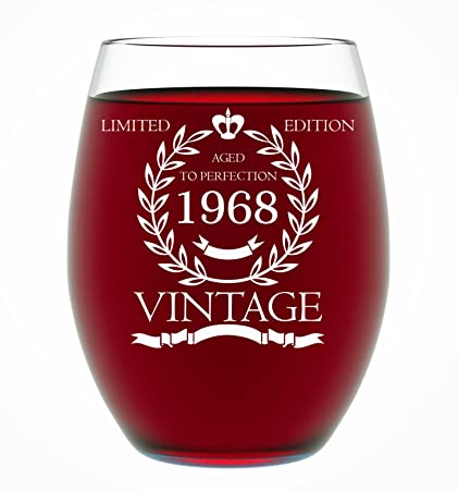 Amazon 1968 50th Birthday Gifts For Women And Men Wine Glass