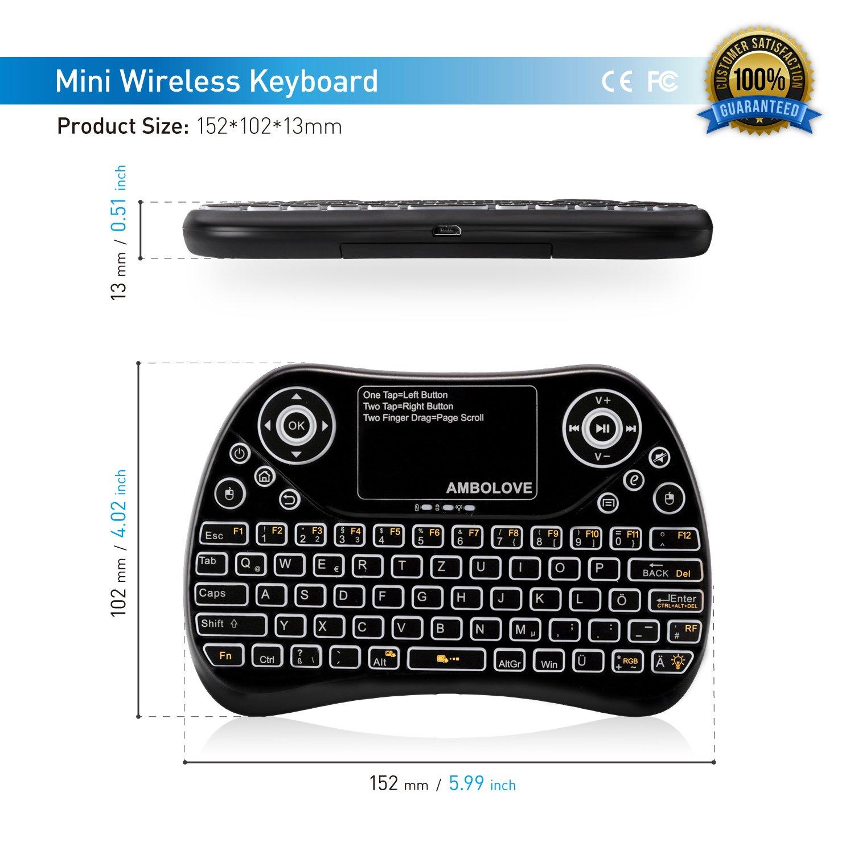 (7 farbige Hintergrundbeleuchtung) Mini Tastatur, Deutsches Tastatur-Layout (QWERTZ) Air Maus Keyboard mit Touchpad und Multimedia Tasten, 2.4Ghz USB wiederaufladbare Handheld USB Schnittstelle