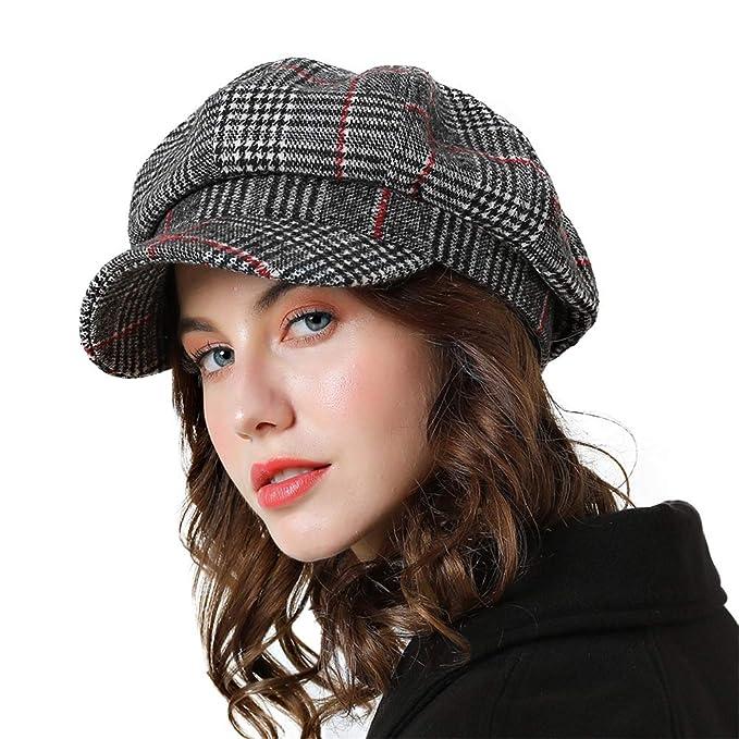 big sale free shipping run shoes F FADVES Women Baseball Newsboy Hat Winter Cotton Hats Plaid ...