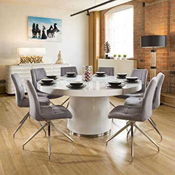 Avant Garde Large Round White Gloss Dining Table Lazy Susan 8 Grey