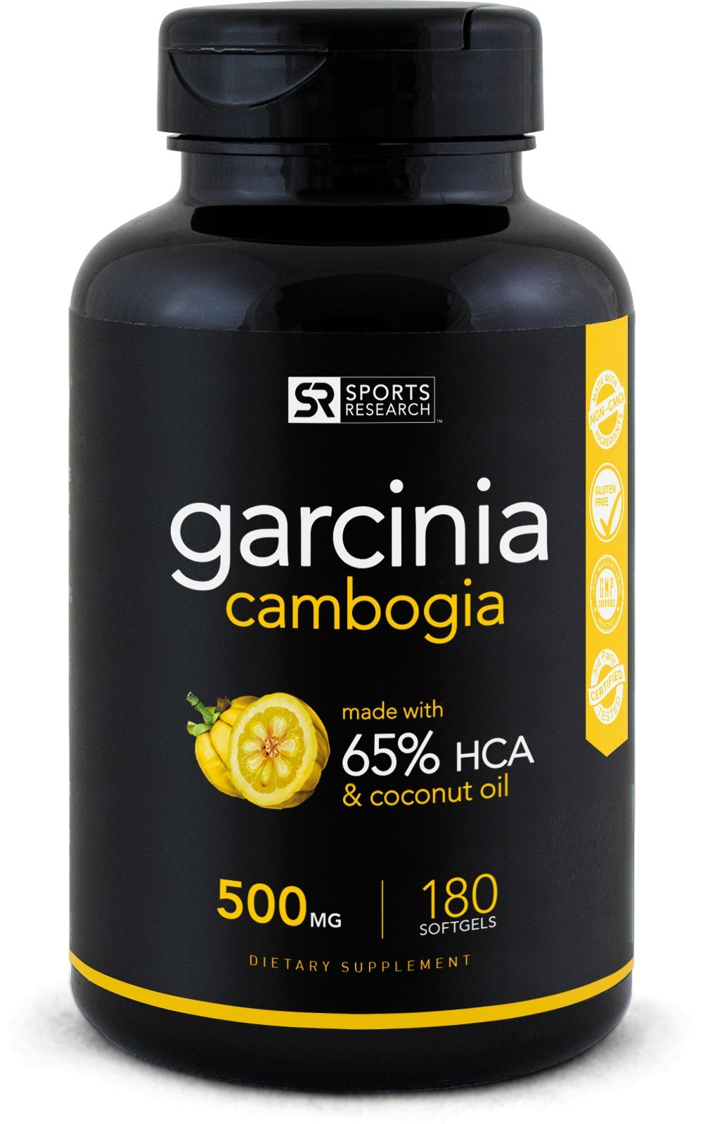 Pure Garcinia Cambogia Extract with 65% HCA; Made In USA; Infused with Coconut Oil for better Absorption; 180 liquid softgels. by Sports Research