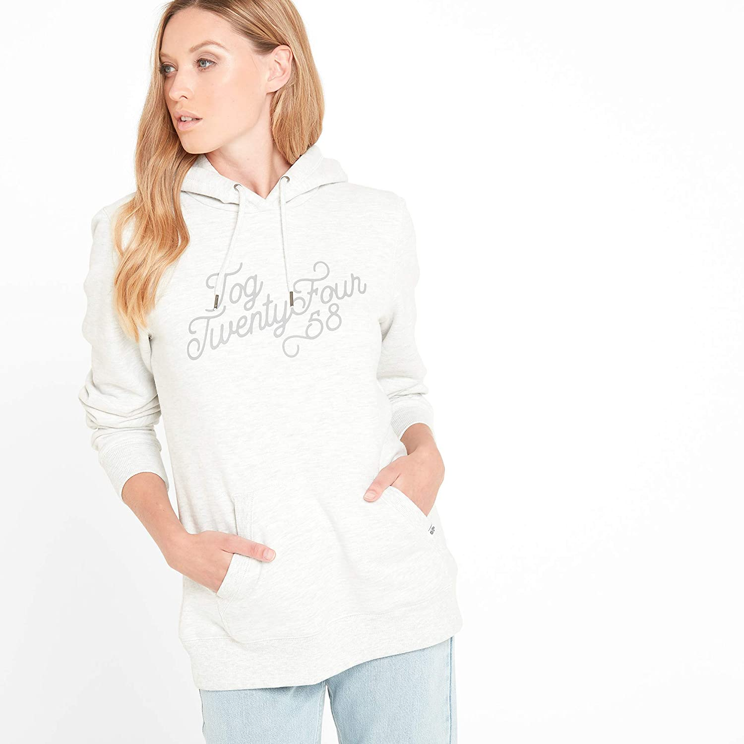Super Soft Cosy Warm Hooded Sweater Ribbed Cuffs Hem TOG 24 Mappleton Graphic Print Womens Hooded Sweatshirt Large Kangaroo Pockets and Hood with Draw Cord Durable Hoodie with Peach Finish