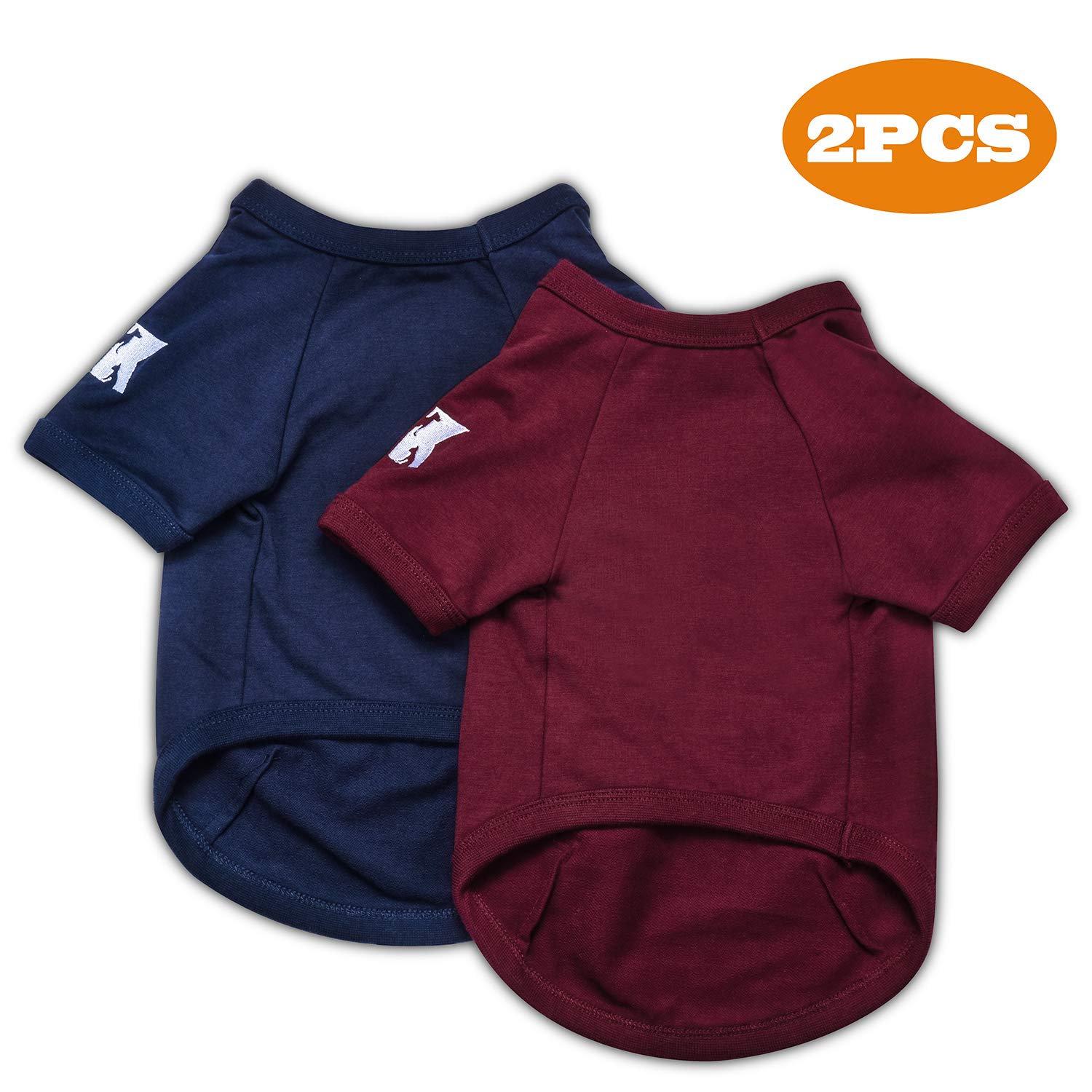 Basic Breathable Hoodie Sweater Bottoming Shirt for Small Dog Cat Puppy Animal Adorable Cozy Apparel Cute Fashion Costume Blue /& Red 2 Packs Koneseve Dog Shirts Cotton T-Shirt Soft Clothes