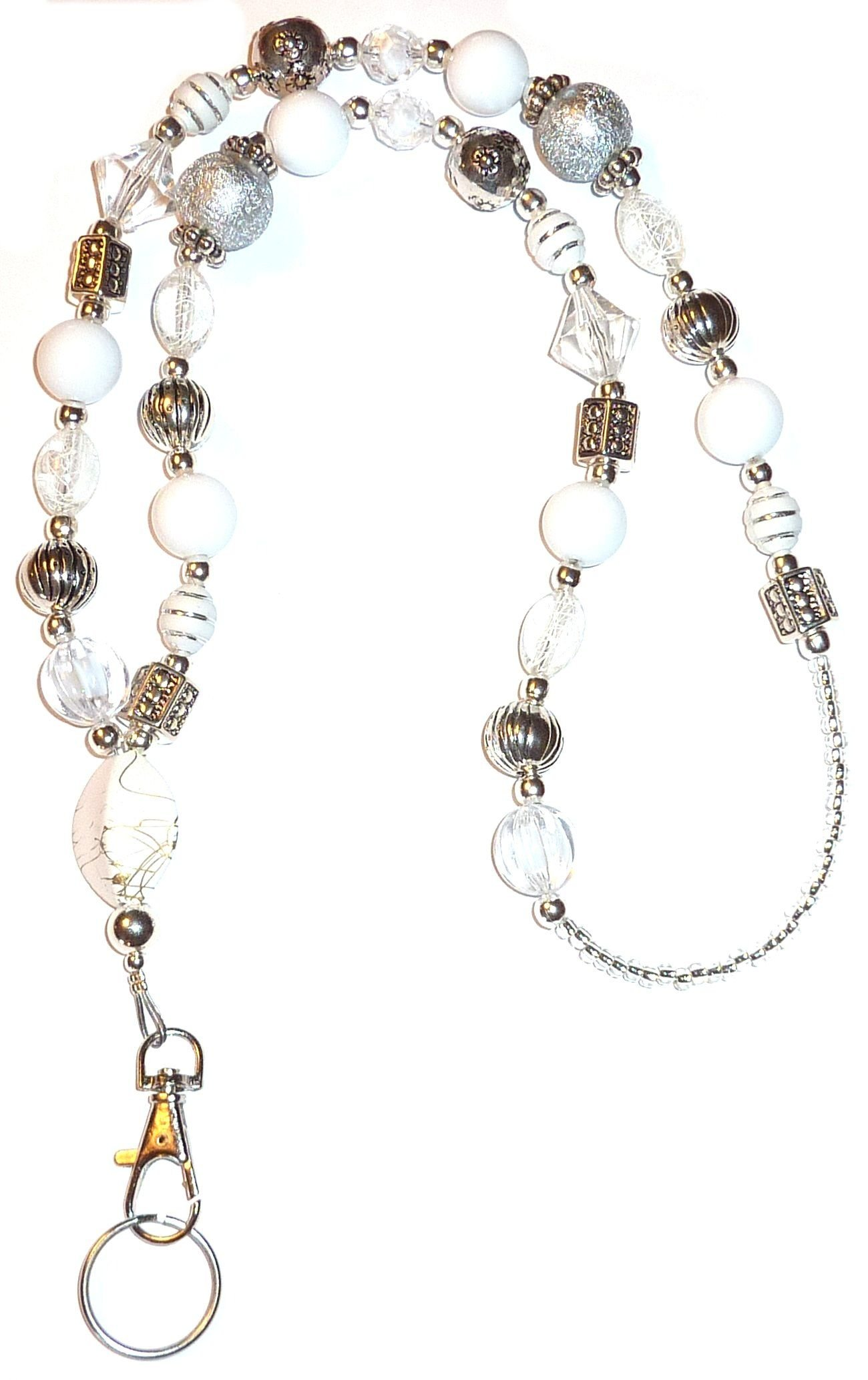 Chunky Style Fashion Women's Beaded Lanyard 34'', Breakaway and Non breakaway available, For Keys, Badge Holder (Chunky White - NON Breakaway (Stronger))