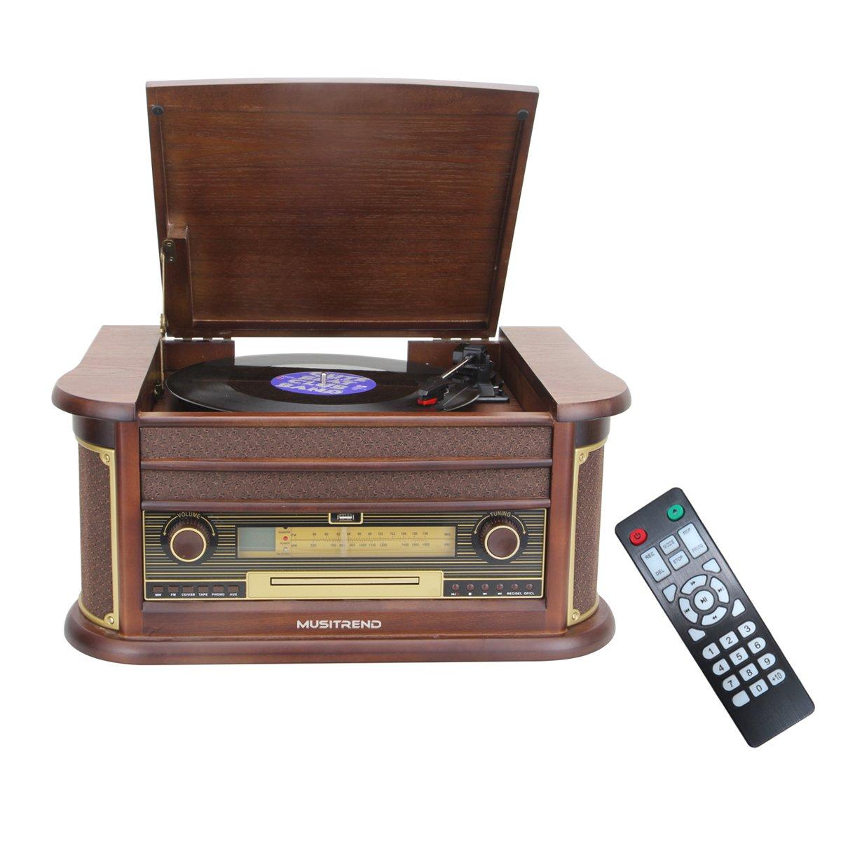 Amazon.com: musitrend Retro Vinyl Record Player 7-in-1 ...