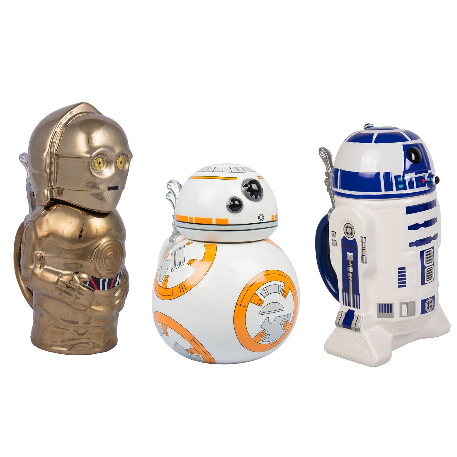 Star Wars BB-8, R2-D2 and C-3PO Ceramic Beer Steins with Hinged Lids - Set of 3-32 oz