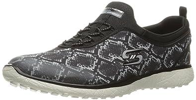 Skechers Sport Women's Microburst Mamba Fashion Sneaker, Black/White, ...