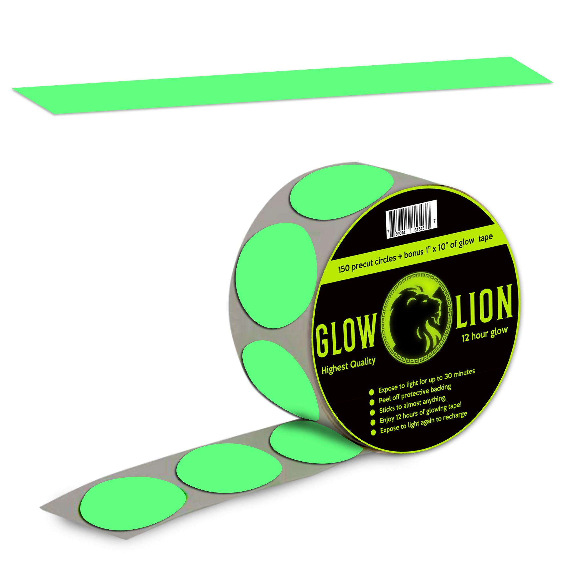 Glow in the Dark Tape Dots + 10'' Glow-in-the-Dark Tape | 150 Dots