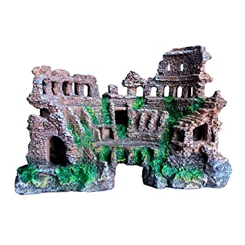 Xir Aquarium Decoration Fish Tank Ornament Ancient Ruin Style Kit Eco Friendly Resin Material For Freshwater Saltwater Tanks