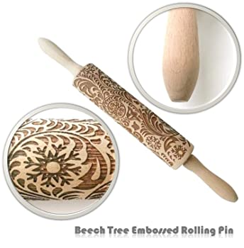 Paisley Embossed Engraved Wooden Rolling Pin