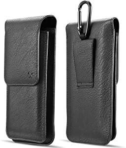 Luxmo Samsung Galaxy A51 Dual Series Belt Holster: Vertical PU Leather Double Phone Holder Wallet Carrying Pouch Case (Holds 2 Phones) with Hook, Belt Loop and Atom Wipe - Black
