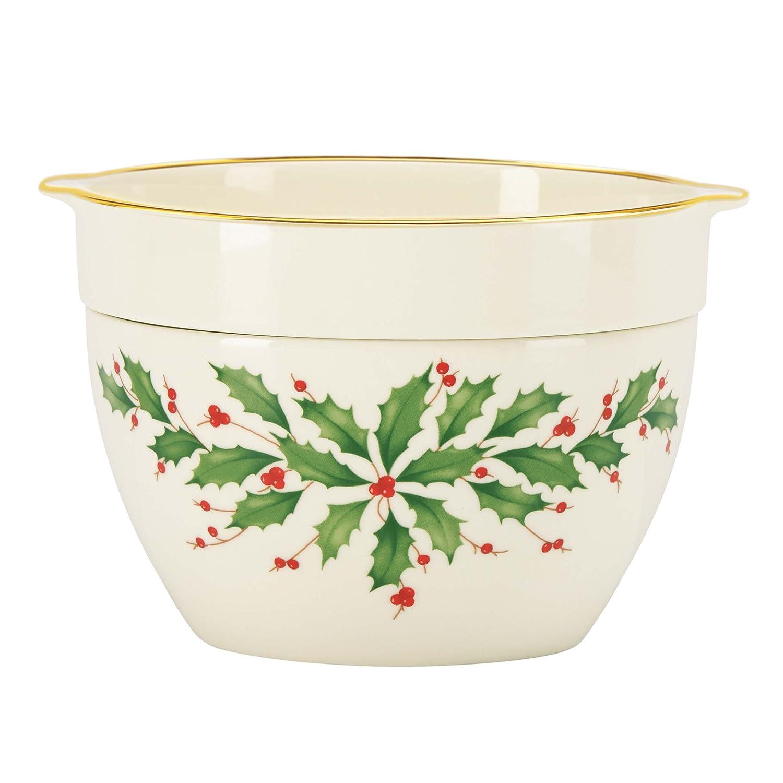"Lenox Christmas Holiday Divided Round Bowl Holly Berries Gold 8/"" New No Box"