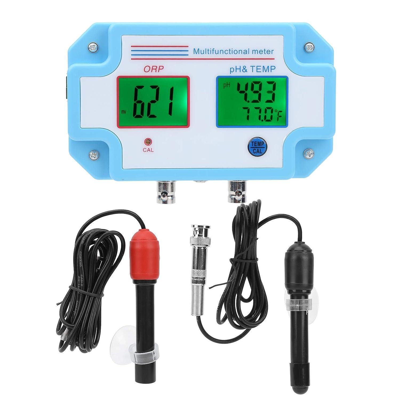 Probador de calidad del agua, monitor de pH/ORP/temperatura con sonda, multiparámetro LCD digital 1 en 3, precisión 0-14PH ± 0.1PH, rango de -1999-1999mV para spa de piscina de planta(EU)