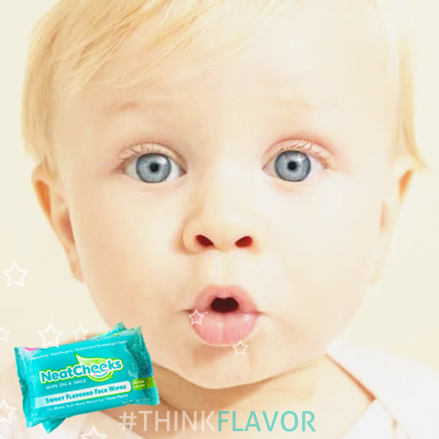 The Original NeatCheeks Natural Flavored Baby Face Wipes for Sensitive Skin - As seen on SHARK TANK! Case of 6 Travel Packs...12 Wipes per Pack
