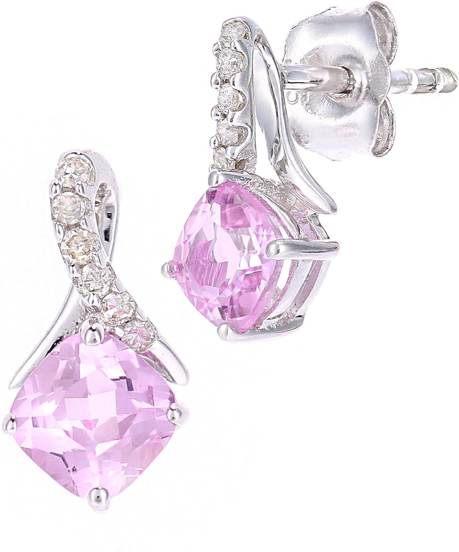 Naava Pendientes de oro blanco de 9 quilates con zafiro rosa cuadrado y diamante de gota