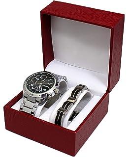 c761e3fc4026 Caja de regalo con reloj de caballero y pulsera de acero inoxidable ...