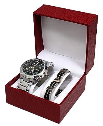 Estuche de regalo con reloj y pulsera de acero para hombre, color azul y plateado