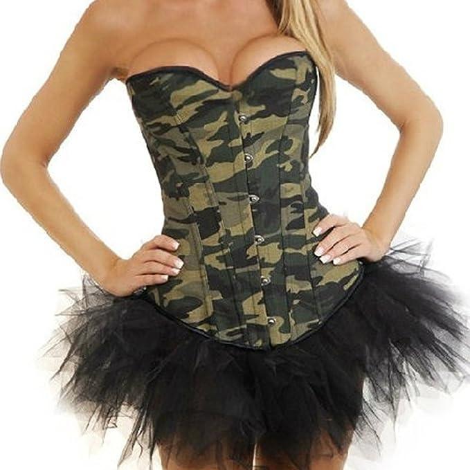 a1c3ae1a0c JL Corset Camouflage Camo Print Lace up Boned Corsets with Mini tutu:  Amazon.co.uk: Clothing