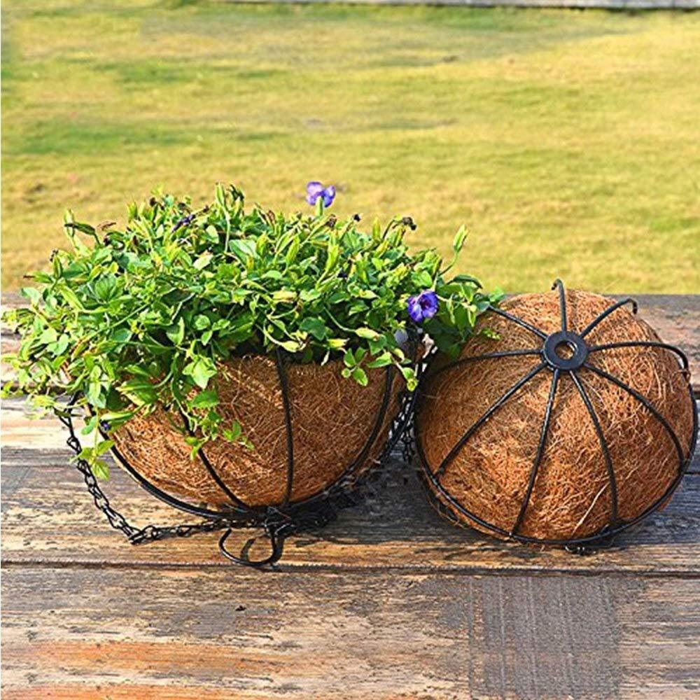 Color : Style 01, Size : 8 Weikeya Macetas para Flores Cesta Colgante de Fibra de Coco marr/ón Jardinera de jard/ín Soporte para Colgar Flores con Forro de Coco y Cadena