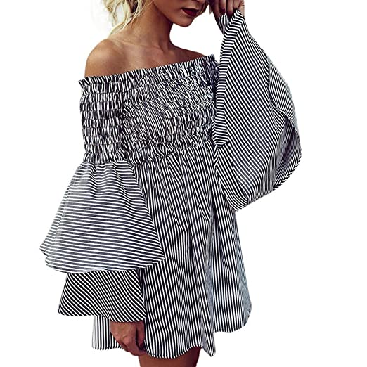 7cee4e5c91 Women's Dresses Flare Sleeve Holiday Off Shoulder Stripe Dress Lady Sexy Bohemian  Summer Camis Long Dress