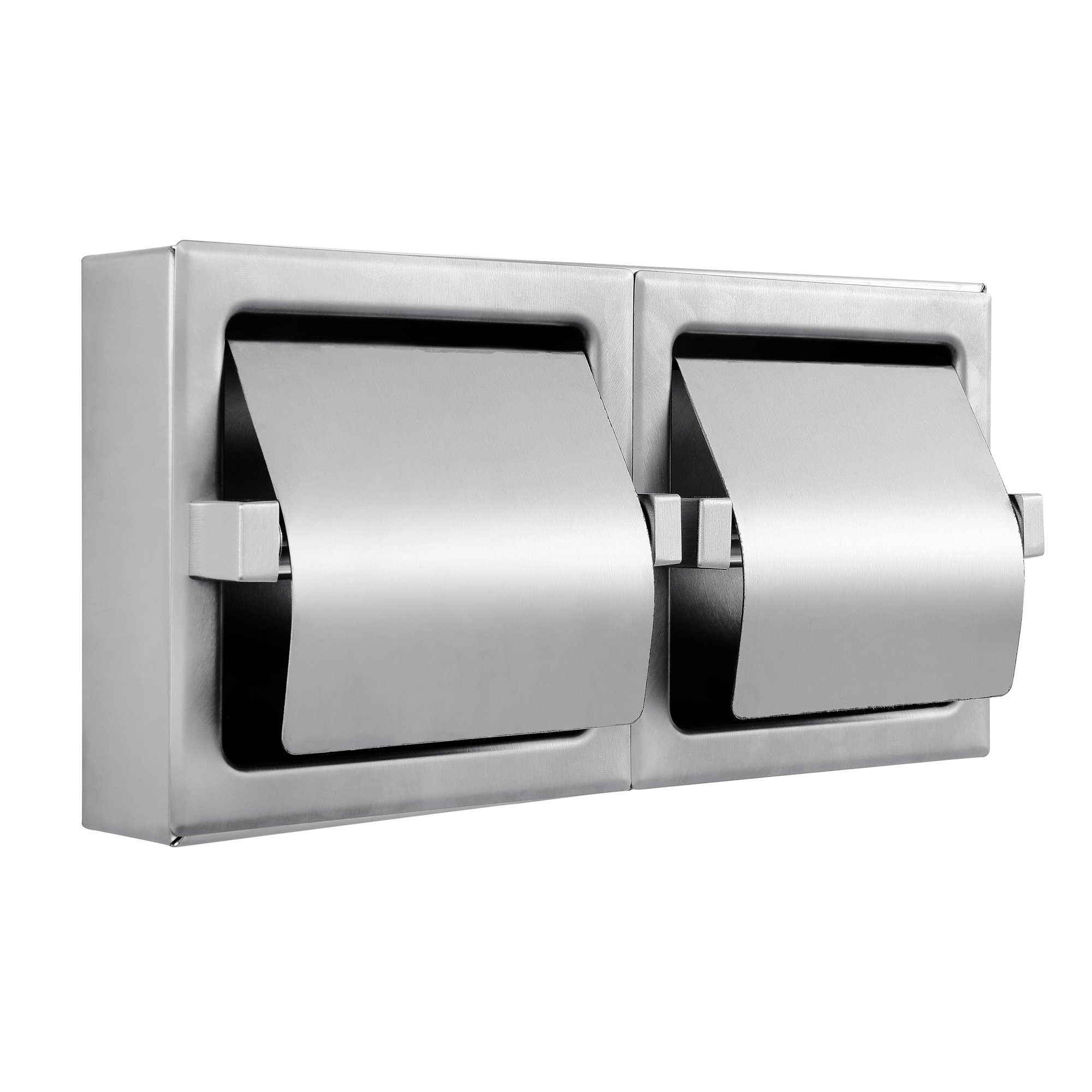 Dependable Direct Heavy Duty Horizontal Two Roll Hooded Commercial Toilet Paper Holder - Stainless Steel - Satin Finish - Surface Mount - Holder Dimensions: 12-3/8 Inch x 6-1/2 Inch x 3 Inch by Dependable Direct