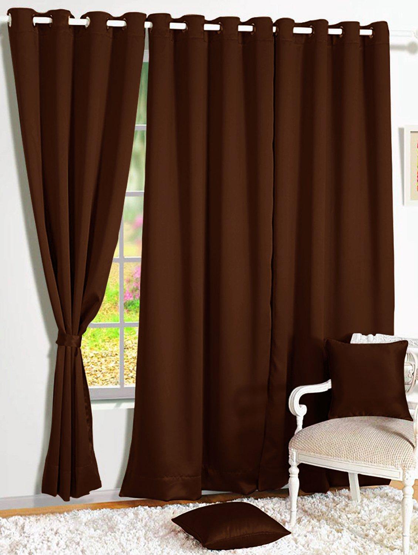 Room Darkening Blackout Plain Faux Silk Premium Solid Curtains