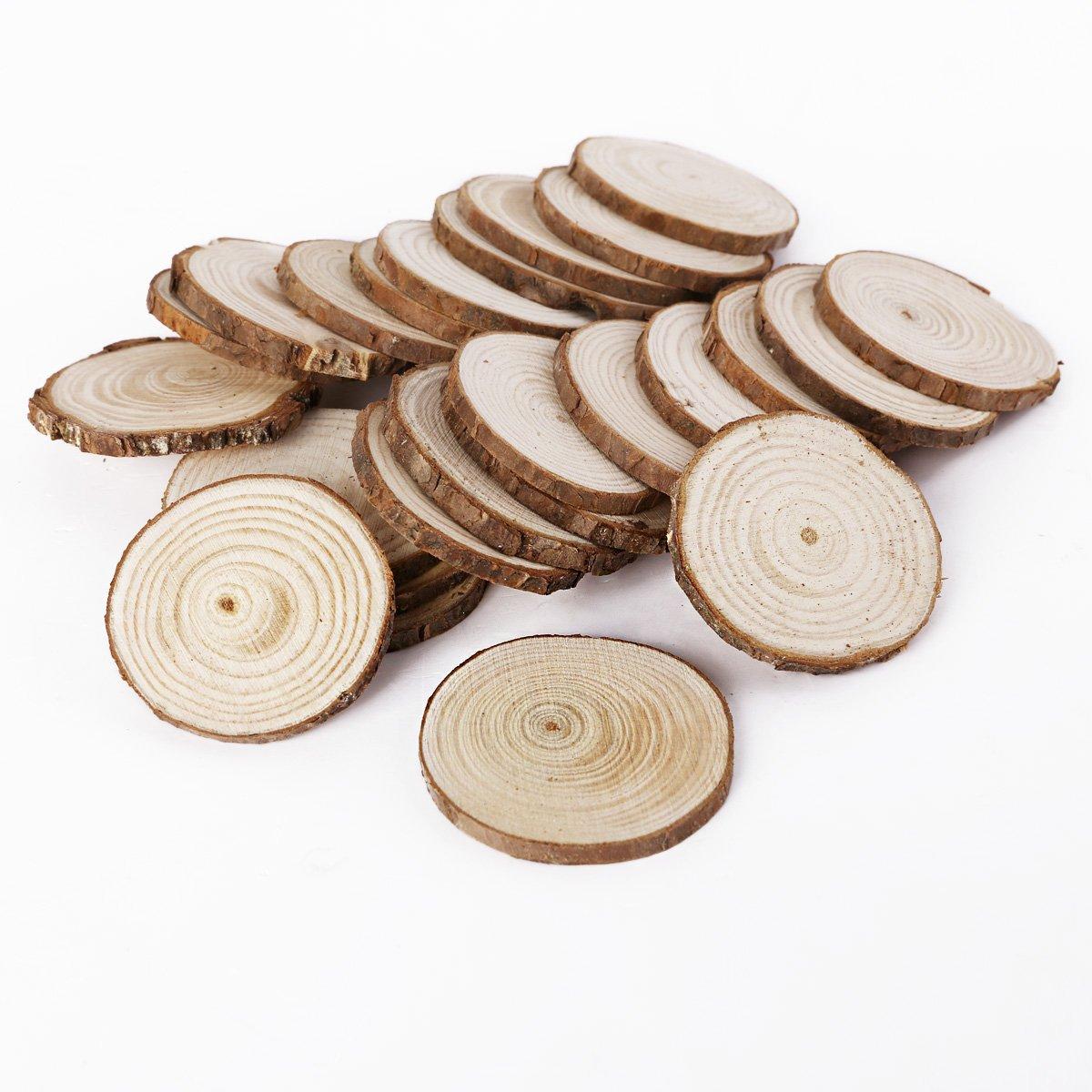 Round Shape SurePromise 25PCS 5CM Wooden Wood Log Slices Discs Natural Tree Bark Table Decorative Wedding Centerpieces