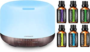 URPOWER 500ml Essential Oil Diffuser 5 in 1 Ultrasonic Diffusers with 6 Aromatherapy Essential Oil 100% Pure Lavender, Peppermint, Sweet Orange, Eucalyptus, Tea Tree, Lemongrass Essential Oil Gift Set