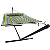 Sorbus Hammock with Spreader Bars and Detachable Pillow, Heavy Duty, 450 Pound Capacity, Perfect for Indoor/Outdoor Patio, Deck, Yard