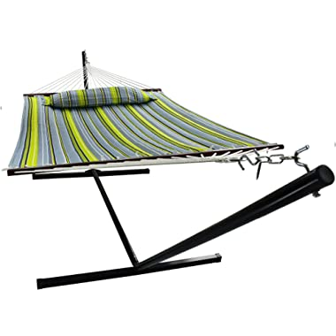 Sorbus Hammock with Spreader Bars and Detachable Pillow, Heavy Duty, 450 Pound Capacity, Accommodates 2 People, Perfect for Indoor/Outdoor Patio, Deck, Yard (Hammock with Stand, Green/Blue)