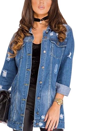 6cf5163468db0 Laisla fashion Outerwear Femme Large Désinvolte Beau Hipster Jean Jacken  Printemps Classique Automne Unicolore Manches Longues Déchiré avec  Multi-Poches ...